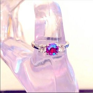 Fragrant Jewels Fire Ruby and Cubic Zirconia Ring